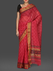Pink Paisley Print Mangalgiri Cotton Saree - By