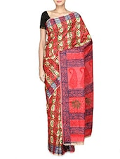 Multicoloured Printed Cotton And Tussar Silk Saree - By