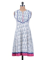 White Hand Block Printed Cotton Kurta - By