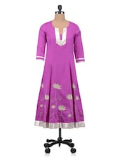 Pink Plain Zardosi Embroidered Cotton Kurta - By