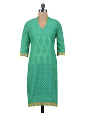 Green Hand Made Printed Cotton Kurta - By