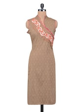 Beige Jacquard Embroidered Cotton Overlap Kurta - By