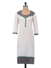 White Aztec Printed Jacquard Cotton Kurta - By