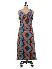 Multicolour Printed Poly Crepe Maxi Dress With Gathers - By