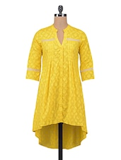 Yellow Plain Jacquard Pin Tucked Cotton Tunic - By
