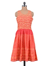 Red Printed Trimmed Laced Cotton Dress - By