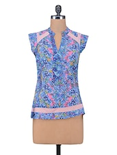 Blue Printed Poly Georgette Net Top - By