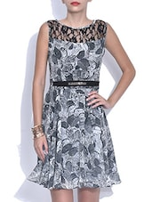 Grey Printed Poly Georgette Dress With Laced Yoke - By