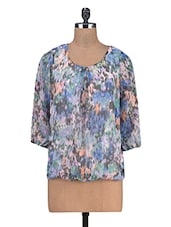Multicoloured Printed Poly Georgette Top - By