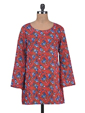 Red Floral Print Long-sleeved Tunic - By