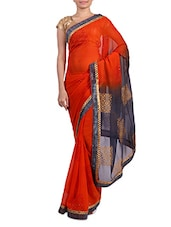 Orange Embellished And Printed Chiffon Saree - By