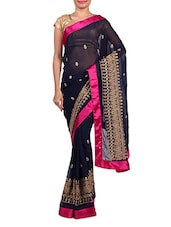 Embroidered Navy Blue Faux Georgette Saree - By
