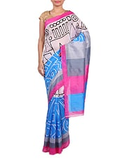 White And Light Blue Printed Cotton Saree - By