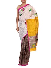 White And Brown Printed Cotton Saree - By
