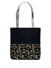 Black Embroidered Silk Tote Bag - By