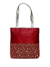 Red Floral Embroidered Silk Tote Bag - By