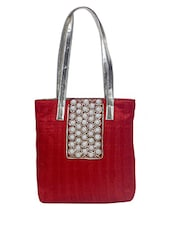 Red Embellished Silk Tote Bag - By