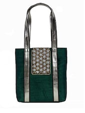 Green Embellished Silk Tote Bag - By