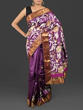 Paisley Brocade Border Floral Embroidered Art Silk Saree - By