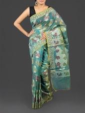 Leaf Pattern Kora Cotton Art Silk Saree - By