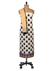 Embroidered Off-White Chanderi Dress Material - By