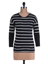 White Striped Black Cotton T-Shirt - By