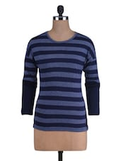 Striped Navy Blue Knitted Cotton T-Shirt - By