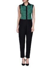 Black And Green Polyspandex Striped Jumpsuit - By