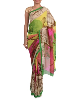 Multicoloured printed georgette saree