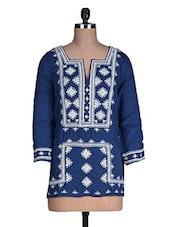 Blue Plain Embroidered Rayon Top - Myaddiction