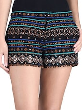 Black Cotton Sequin Work Shorts - By