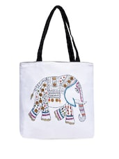 White Cotton Canvas Printed Handbag - By