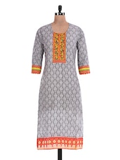 Grey Printed Cotton Kurti - By