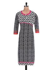Black Geometrical Printed Cotton Kurti - By