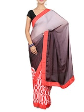 Grey Ombre And Red Printed Saree - By