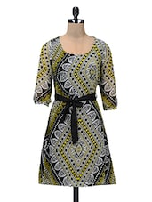 Black And Green Printed Polychiffon Dress - By