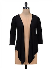 Black Viscose Long Shrug - By