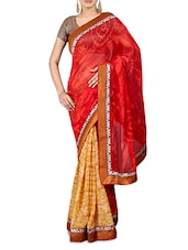 Red And Yellow Printed Georgette Saree - By