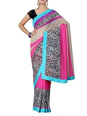 Pink And Beige Printed Chiffon Saree - By