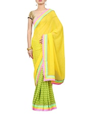 Yellow And Green Printed Georgette Saree - By