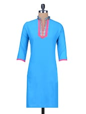 Light Blue Cotton Kurta - By