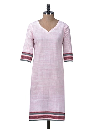 Blush Cotton Printed Long Kurta