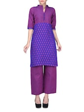 Violet And Royal Blue Kurta And Trousers - By