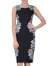 Black Floral Printed Cotton Knit Bodycon Dress - By