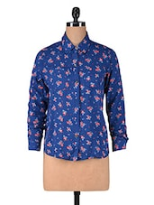 Blue Floral Printed Rayon Shirt - By