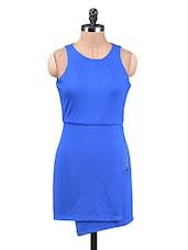 Blue Sleeveless Poly Lycra Knit Dress - By