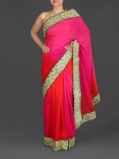 Ombre Embroidered Georgette Saree - By
