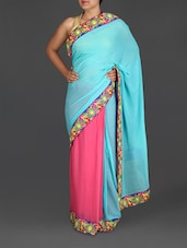 Sky Blue And Pink Embroidered Georgette Saree - Roop House