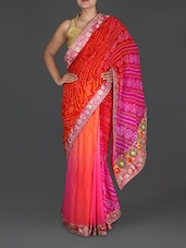 Ombre Printed And Embroidered Georgette Saree - By
