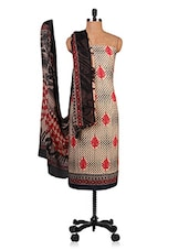 Beige Printed Unstitched Suit Set - By